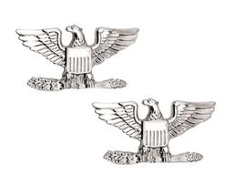 Colonel Captain Eagle Collar Pin Devices Set of 2 US Military Silver P13... - $13.55