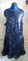 Exquisite sequinned sleeveless,flared,lined dress,midnight blue size16-r... - $95.94