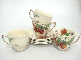 Vintage Royal Doulton Sherborne 4 Demitasse Cup and Saucer Sets Scalloped - $37.61
