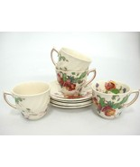 Vintage Royal Doulton Sherborne 4 Demitasse Cup and Saucer Sets Scalloped - $39.59