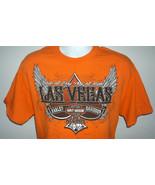 Mens Harley Davidson Las Vegas T Shirt large Winged Logo Dice orange - $28.66