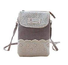 Fashion Cell Phone Cross Body Bag Utility Zipper Coin Bag Messenger Bag, Brown