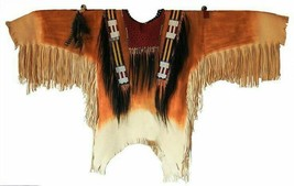 QASTAN Mens Hand Color Native American Buffalo Leather Fringe Beads Shirt NA233 - $220.00