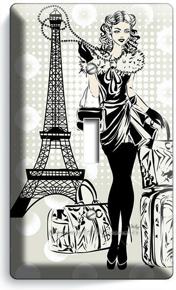 PARIS SHOPPING TRAVEL GIRL 1 GANG LIGHT SWITCH WALL PLATE BED ROOM ROOM HD DECOR