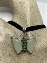 Vintage Green Chalcedony butterfly choker pendant necklace - $94.05