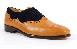 Handmade Men's Tan Leather & Black Suede Brogues Stylish Shoes image 1