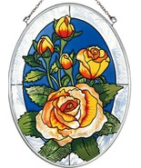 """Yellow Rose Sun Catcher AMIA 7""""x5"""" Hand Painted Glass Oval Flowers New R... - $29.69"""