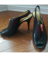 Guess Brown Open Toe Heels With Gold Zip - Size 9M - $19.99