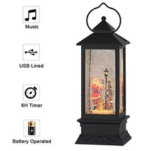 Eldnacele Christmas Snow Globe Lantern with Music, Battery Operated Ligh... - £49.67 GBP