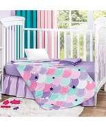 Mermaid Crib Bedding Set for Girls with Comforter, Fitted Sheet Crib, Be... - $89.05