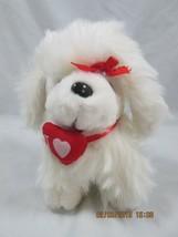 "7"" Sitting Plush Valentine White Pomeranian Puppy Dog, Red Puff Heart, NW0T - $0.99"