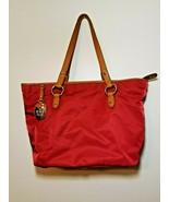 Lauren Ralph Lauren Red Handbag Leather Trim Zip Close Shoulder Purse - $39.99