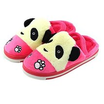 Cute Panda Winter Shoes Warm Indoor Slippers for Baby Girls (Pink, L13.8CM)
