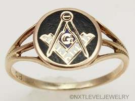 Antique c1900 Victorian Ostby & Barton Enamel Masonic 10k Solid Gold Pin... - $329.18