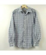 Peter Millar Mens Button Shirt Medium M Blue White Black Long Sleeve Col... - $23.33