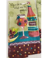 """1 PRINTED TERRY KITCHEN TOWEL (16""""x26"""") WINE & GRAPES,WINE IS THE ANSWER... - £6.76 GBP"""