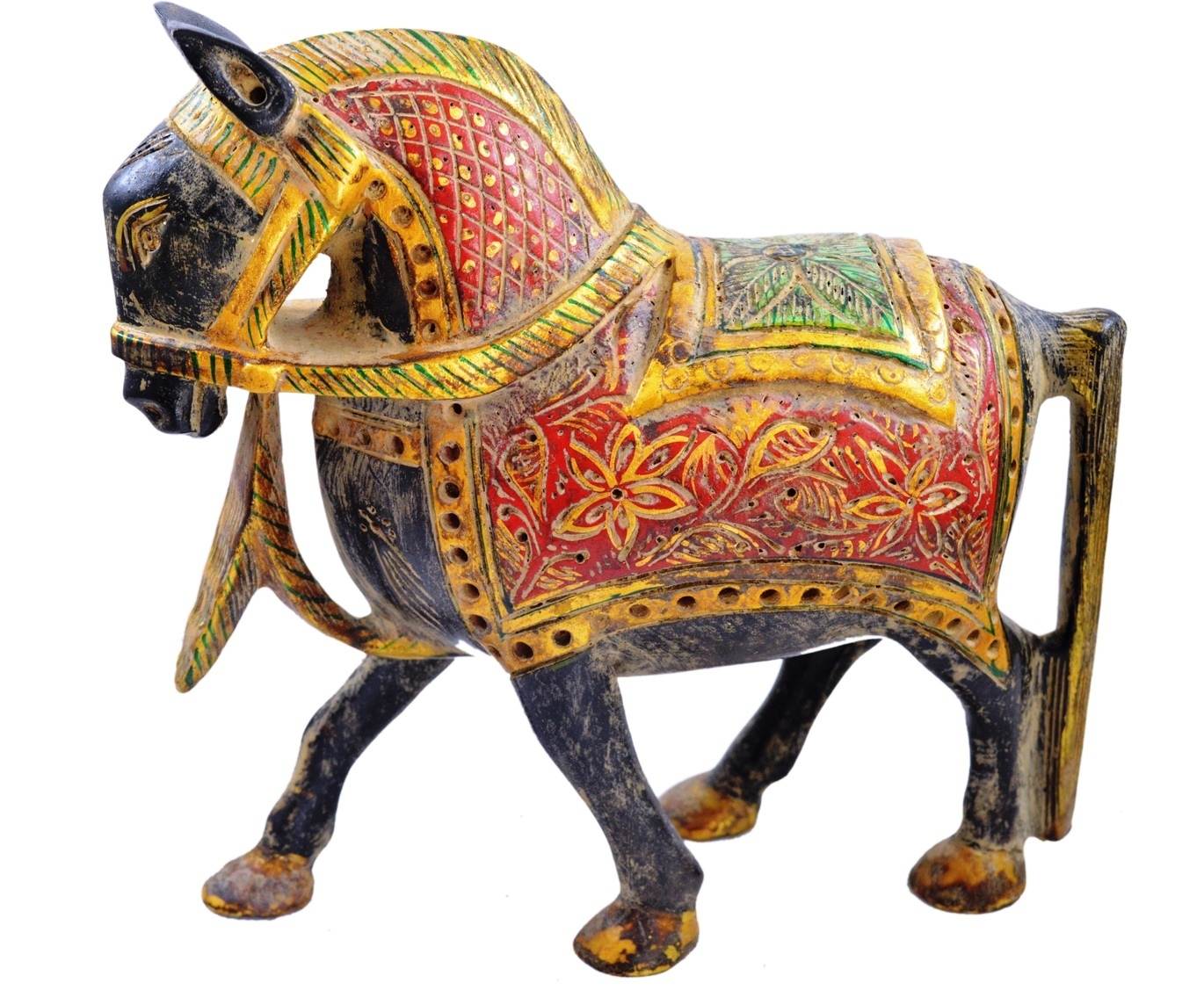 Primary image for Antique Indian Maharaja Style Hand Carved Solid Painted Wooden Horse Statue
