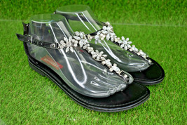 UnionBay Women's Black Embellished Rhinestone Zip Thong Flat Sandals Sz 7.5 - $19.79