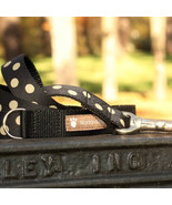 Candy Dot: Gold on Black Grosgrain Dog Leash (120cm, 4ft.) / Made in Japan - $36.00