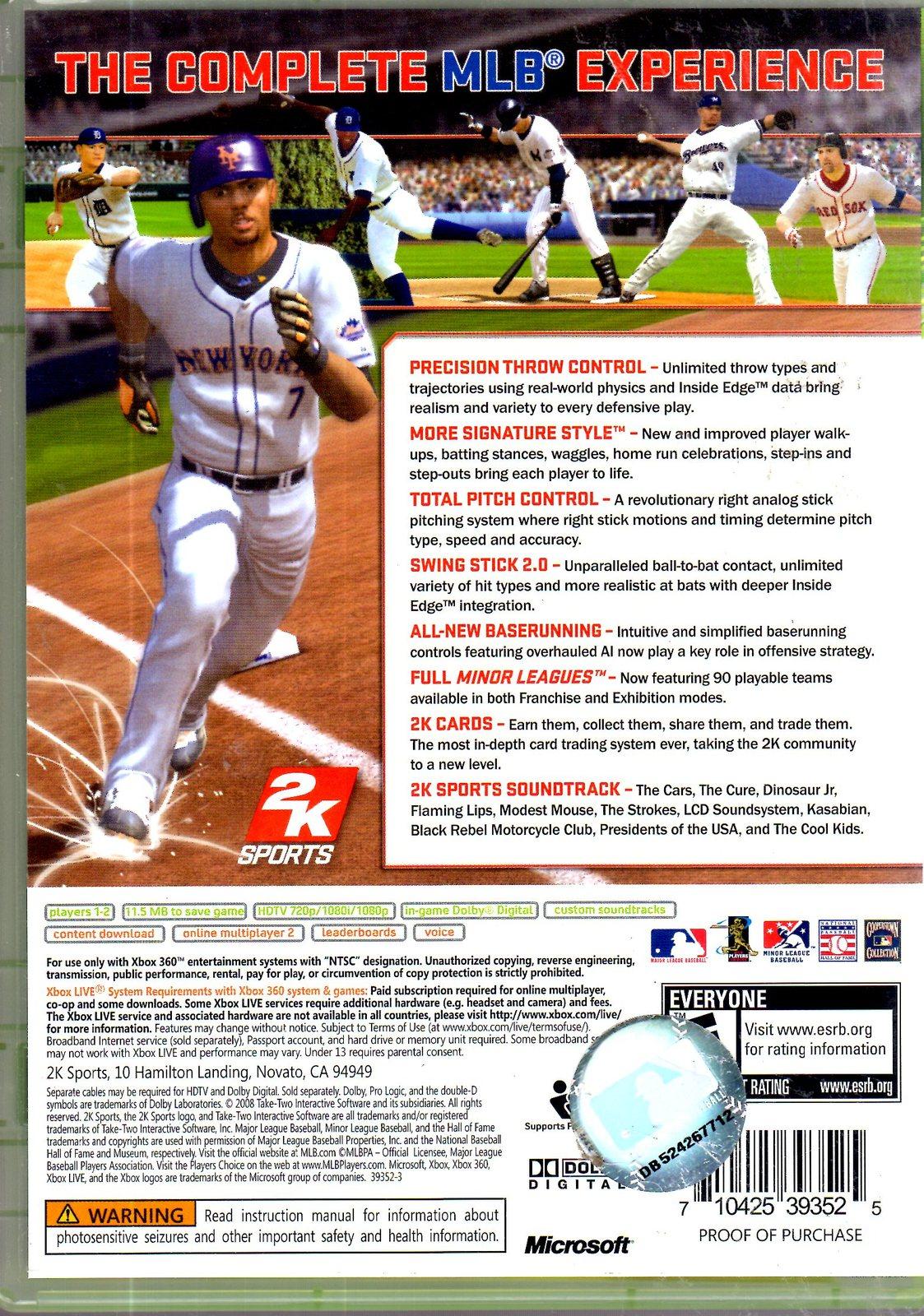 XBox 360 -  Major League Baseball 2K8