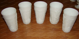 Colony Harvest Milk Glass Tumber-Tea Glasses (5-pieces) Raised Grape Vines Motif - $49.50