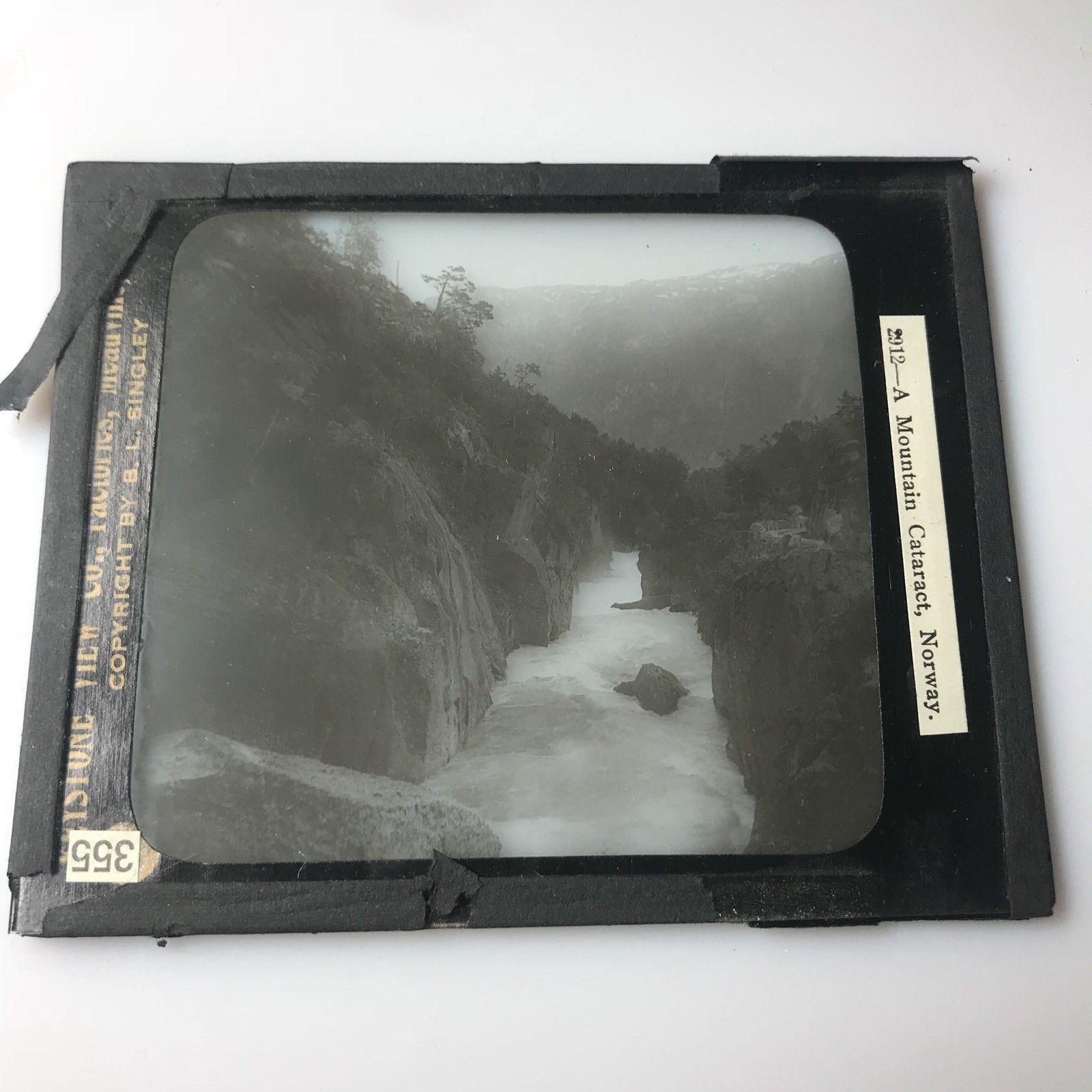 Vtg Magic Lantern Glass Slide Photo Keystone A Mountain Cataract Norway