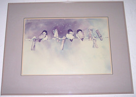 "1987 Rare Sunny Daniels "" Three Chickadees Painting"" Original Watercolor... - $599.99"