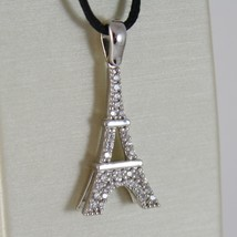 18K WHITE GOLD EIFFEL TOWER PENDANT 27 MM, 1.06 INCHES, ZIRCONIA, MADE IN ITALY  image 1