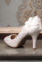 Ivory Pointy Toe Wedding High Heels 2 inch Wedding Pump Shoes for the Bride - $68.00