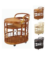 Handmade Natural Rattan Wicker Serving Moving Cart Table Exclusive w/Wheels - $139.99