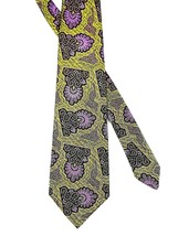Vintage Wembley Necktie Wemblon Washable Fabric Lavender & Gold 53L x 4.25W - $12.86