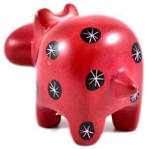 Tabaka Chigware Hand Carved Kisii Soapstone Red Black Hippopotamus Hippo Figure image 2