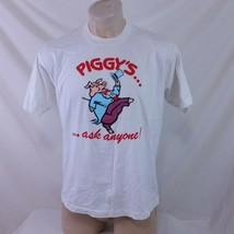 Vintage 80s Piggys Restaurant T Shirt Single Stitch Bar Tavern Cartoon C... - $19.99