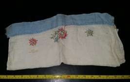 Vintage Hand Made Embroidered Blue Edge Kitchen Towel 16x27 inches - $6.99