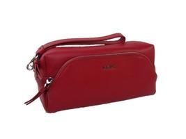 DKNY Logo Donna Karen Wristlet Cosmetics Make Up Bag Case Red Leather $1... - $79.19
