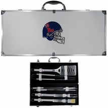 mississippi rebels 8 pc tailgater stainless steel bbq set with metal case - $126.34