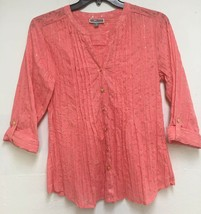 JM Collection Women's Button Down Blouse Coral 3/4 Sleeve Roll Tab Size 8 Small - $7.56