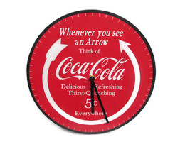 "Coca-Cola Round 12"" Clock Red Arrow Think of Coca-Cola - BRAND NEW - $24.26"