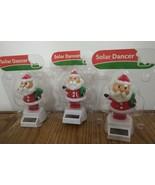 "LOT OF 3 SOLAR DANCER SANTA CHRISTMAS HOLIDAY THEME 5"" TALL - $2.93"