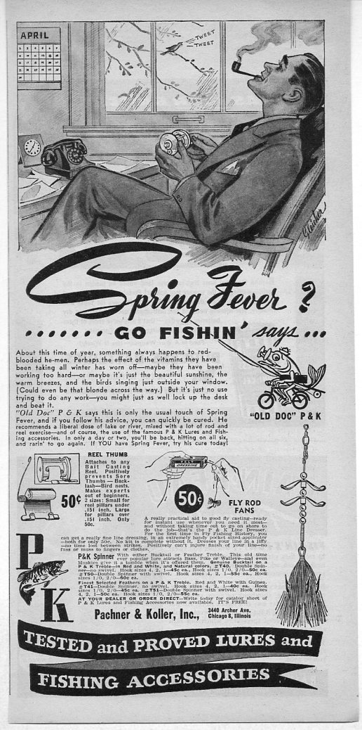 1945 Vintage Ad Pachner and Koller P&K Fishing Accessories Chicago,IL