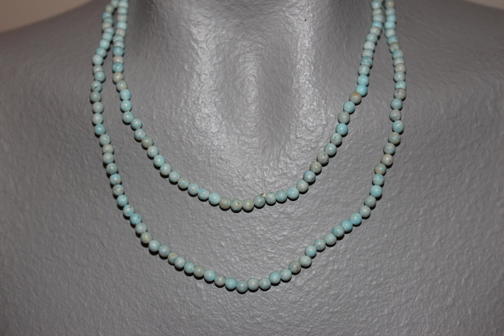 """THE TWIST BEADS ERA!  36"""" NECKLACE OF 4 MM ROUND BEADS ROBIN EGG BLUE BLENDS"""