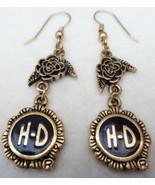 Harley Davidson Dangling Rose Drop Earrings Pierced Goldtone - $20.00