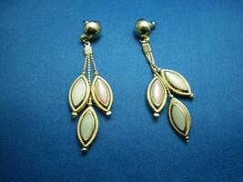 Vintage GoldToned Pink, Yellow, Green Metallic Enameled Dangle Earrings - $19.80