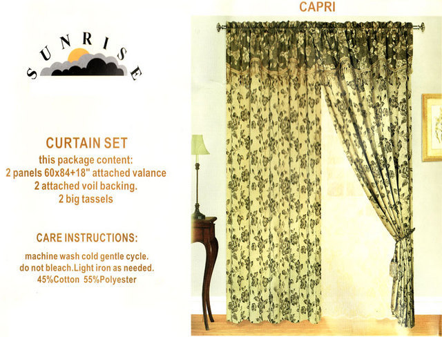 New Window Curtain / Drape Set with Valance & Liner - Burgundy