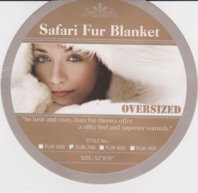 """SAFARI - """"MINK"""" FAUX FUR THERMAL THROW BLANKET 52"""" X 70"""" - Dark Safari colors"""