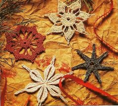 Y951 Crochet PATTERN ONLY 4 Metallic Snowflake Christmas Ornament Patterns - $9.50
