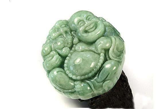 perfect Natural Pea Green Pixiu Buddha Jadeite Jade Pendant image 4