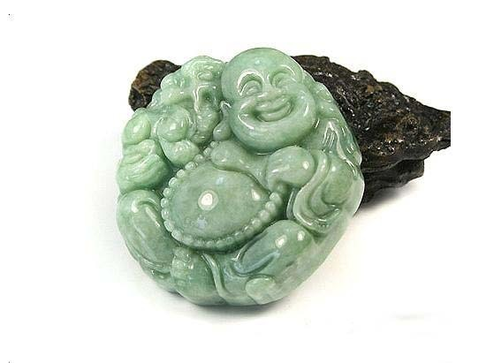 perfect Natural Pea Green Pixiu Buddha Jadeite Jade Pendant image 2