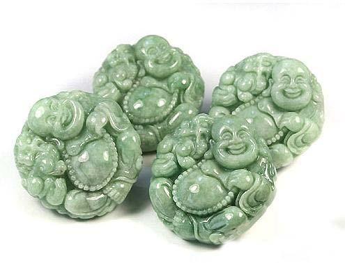 perfect Natural Pea Green Pixiu Buddha Jadeite Jade Pendant image 6