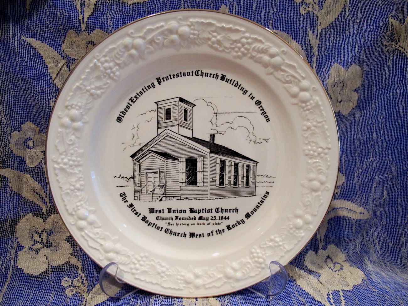 West Union Baptist Church Oregon Souvenir Collector Plate Vintage Collectible